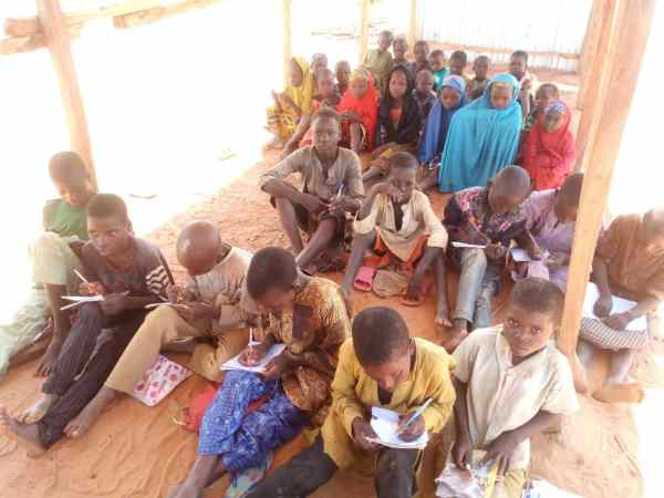 Primary school students learning under inhumane condition