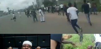 Collage photo of Okorocha and scene from the attack