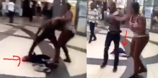 [Video]: Lady Drops Her Baby To Fight Her Baby Daddy In A Mall