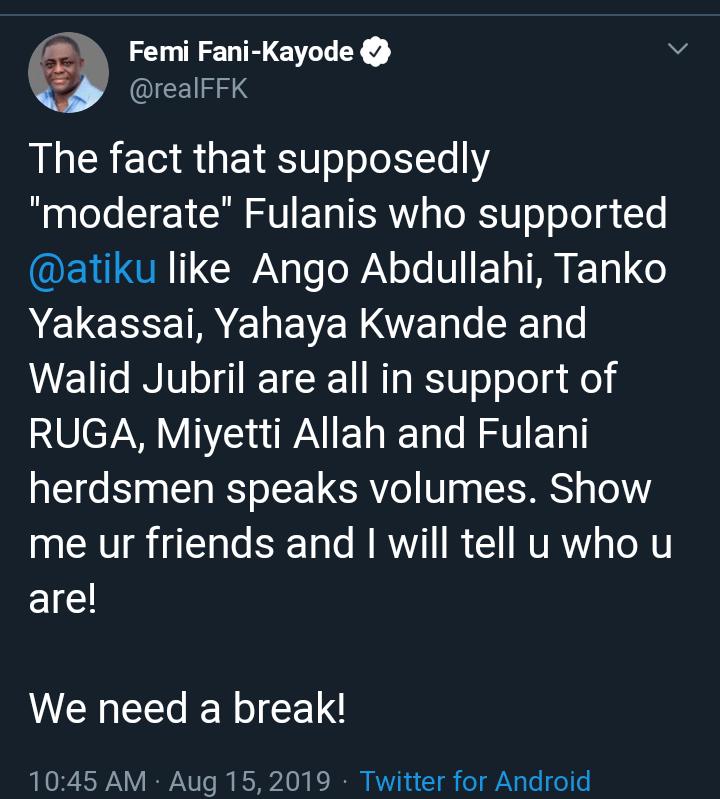 , Femi Fani-Kayode Slaps Atiku Over RUGA Settlement Crisis, All9ja