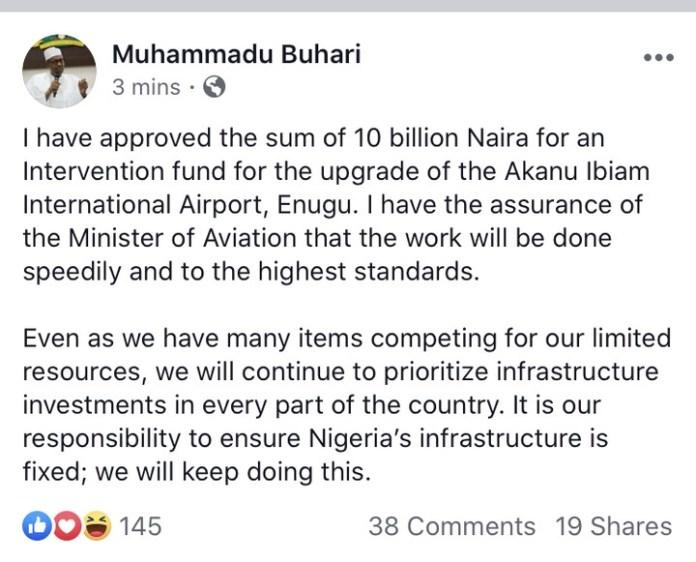 President Buhari's tweet