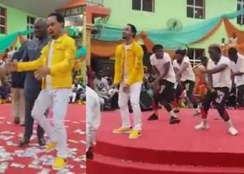 Pastor Odumejeje Dances To Peter Okoye's Music In Church (Video)