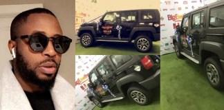 Tunde Ednut and Innoson car for bbnaija's mercy