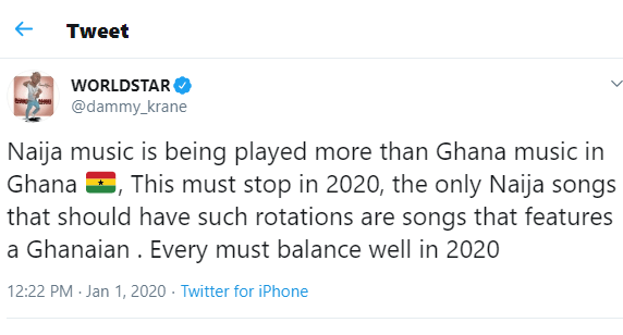 Naija Songs Are Played More Than Ghanaian Songs In Ghana-Dammy Krane 1