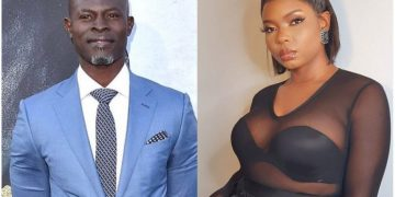 Yemi Alade Excited As Legendary Actor, Djimon Hounsou Kisses Her (Photograph)