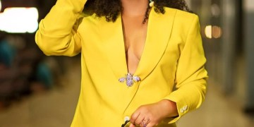 Rita Dominic Stuns In Two-Piece Yellow Suit (Photograph)