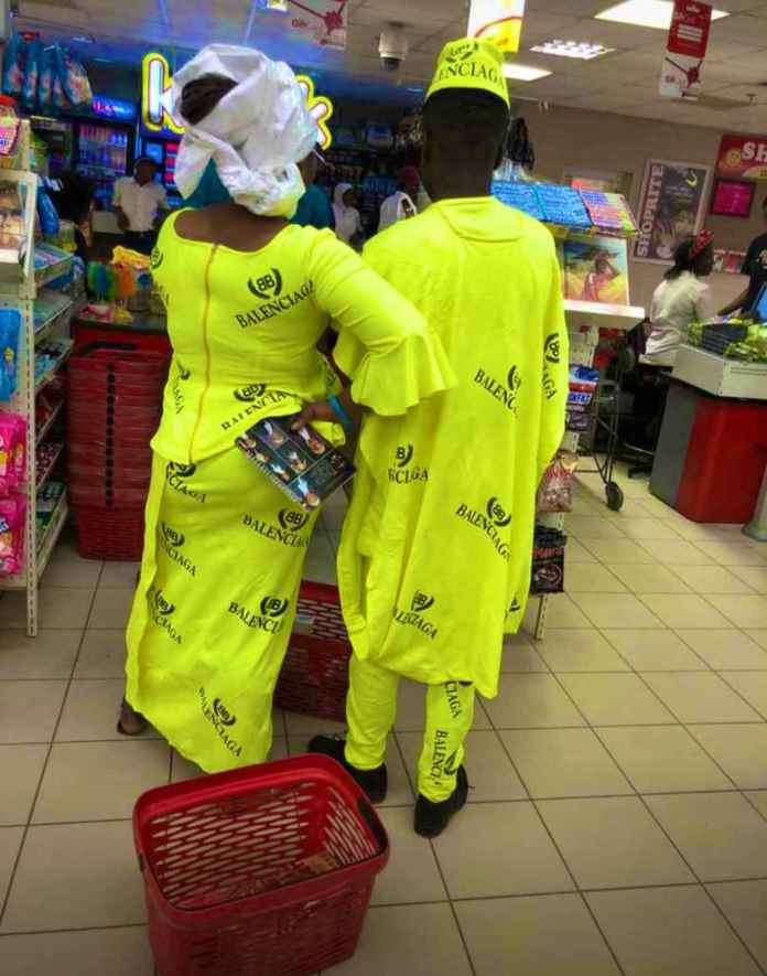 The Nigerian couple in their custom made Balenciaga outfits