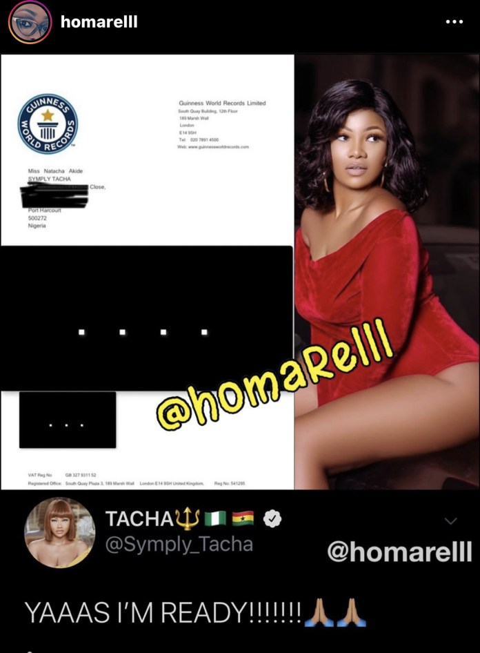 Tacha's letter