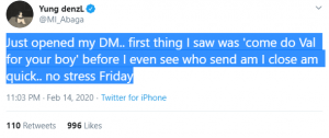 M.I Abaga Reveals First Thing He Saw In His DM On Valentine's Day