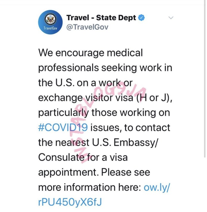 The tweet by the Bureau of Consular Affairs