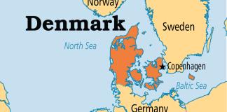 Denmark on map