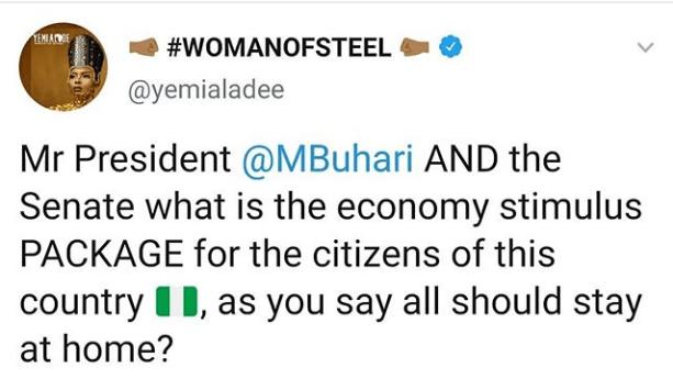 st - Covid-19: Yemi Alade Writes Buhari, Senate