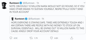 Coronavirus: Runtown To Donate N10million To Fans