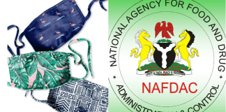 Photo collage of NAFDAC Logo and Face Masks