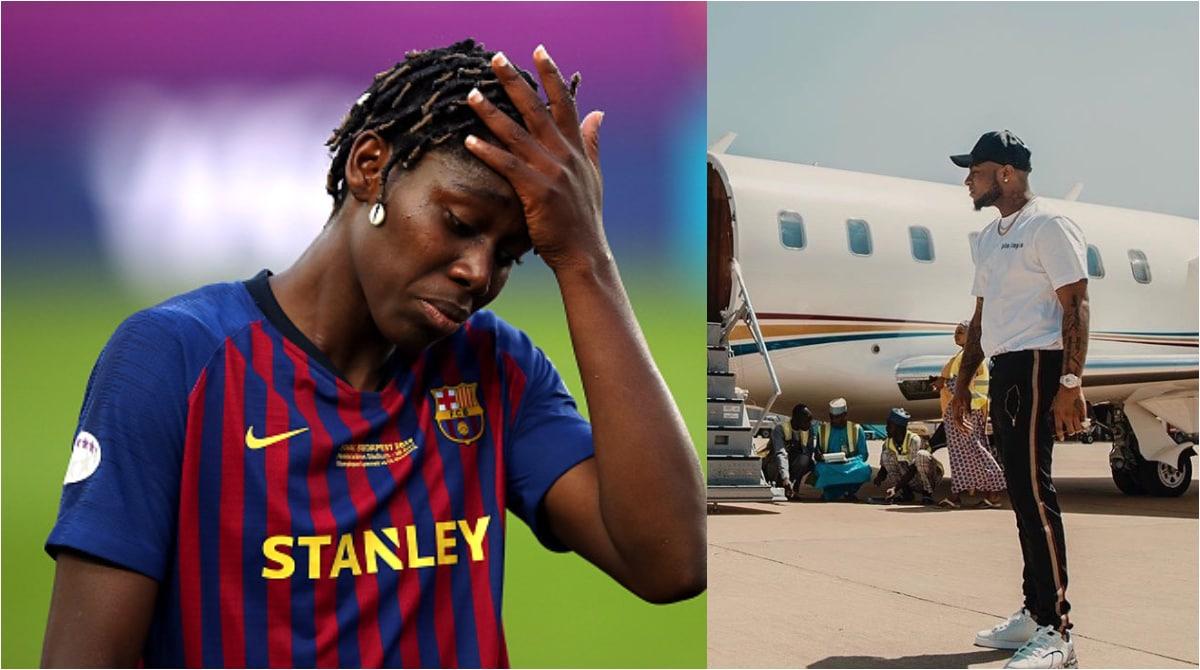 Asisat Oshoala Says She Is Stranded In Spain; Begs For Davido's Private Jet To Return Home