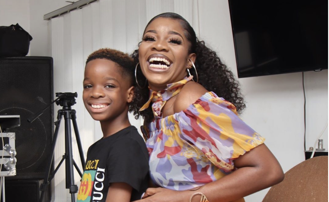 Shola Ogudu and her son