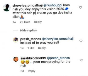 Exchange between trolls and a fan of Hushpuppi