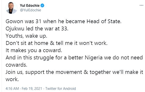 The actor's tweet