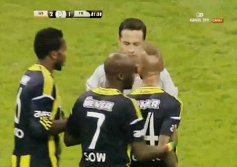 RAUL MEIRELES WAS ACCUSED OF SPITTING AT THE REFEREE AND SAYING A HOMOPHOBIC REMARK DURING FENERBAHCE'S DEFEAT TO GALATASARAY