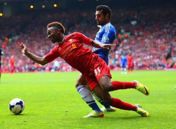 Raheem Sterling and Mohammad Salah Tussles for the Ball at Anfield. (Getty Image)