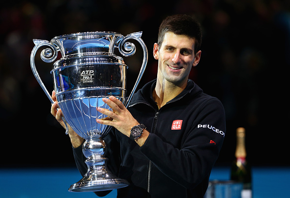 Novak Djokovic With the Barclays ATP World Tour No. 1 Trophy at London's O2 Arena. Image: Clive Brunskill/Getty Images.