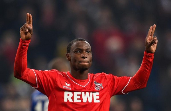 FC Kohn's Anthony Ujah Celebrates His Sixth Goal in the Bundesliga Season at Schalke. Image Getty.