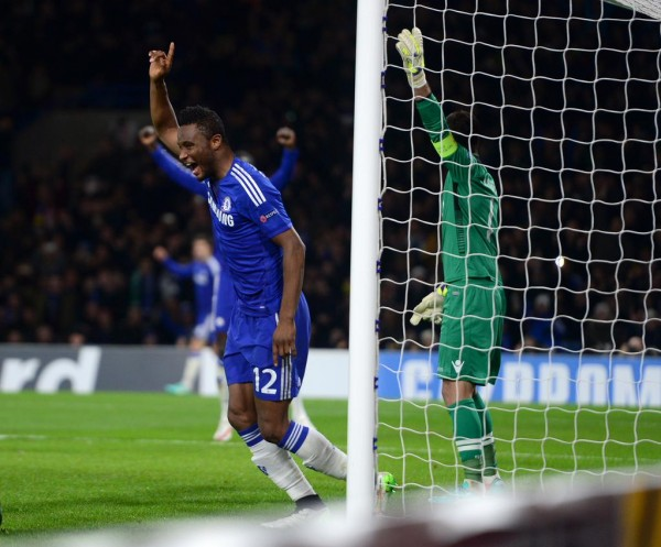 John Obi Mikel Celebrates his First-Ever Goal in European Competition. Image: CFC via Getty.