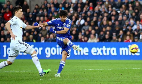 Costa Scores His First Goal Against Swansea at the Liberty Stadium. Image: Getty.