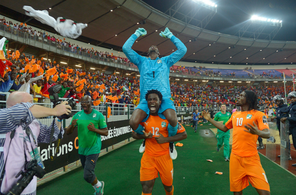 Wilfried Bony and Boubacar Barry Celebrates Afcon Title. Image: Reuters.