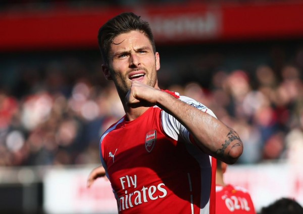 Olivier Giroud Celebrates After Placing Arsenal Ahead of Everton a the Emirates Stadium. Image: Getty.