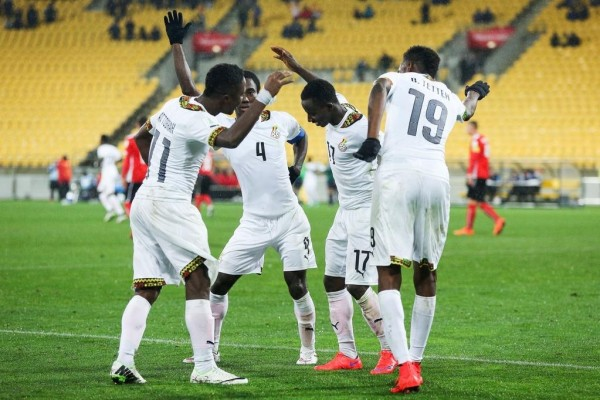 Ghana Celebrates Yaw Yeboah's Late Penalty. Image: Getty.