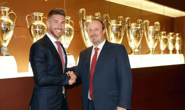 Sergio  Ramos Shakes hands With Coach Rafa Benitez During His Contract Signing Ceremony at he Bernerbeu Earlier This Season. Image: Getty.