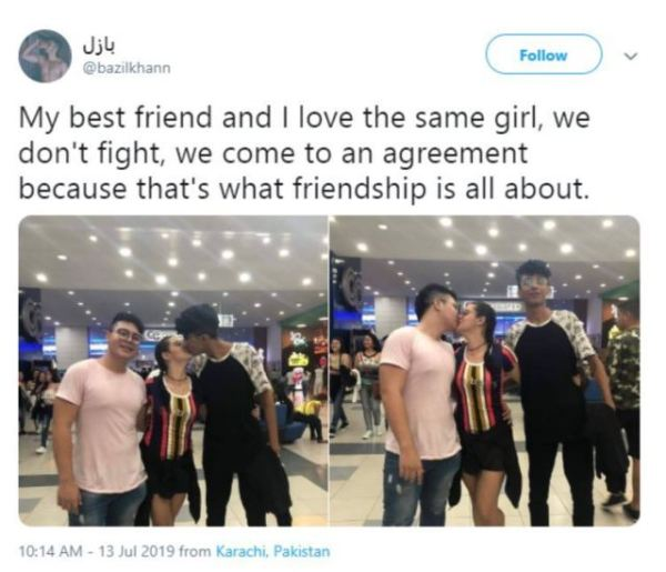 Best friends sharing the same girl