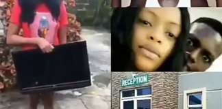 Young Lady Caught Trying To Steal Plasma TV From A Hotel She Lodged