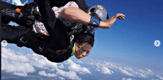 Nina while sky diving