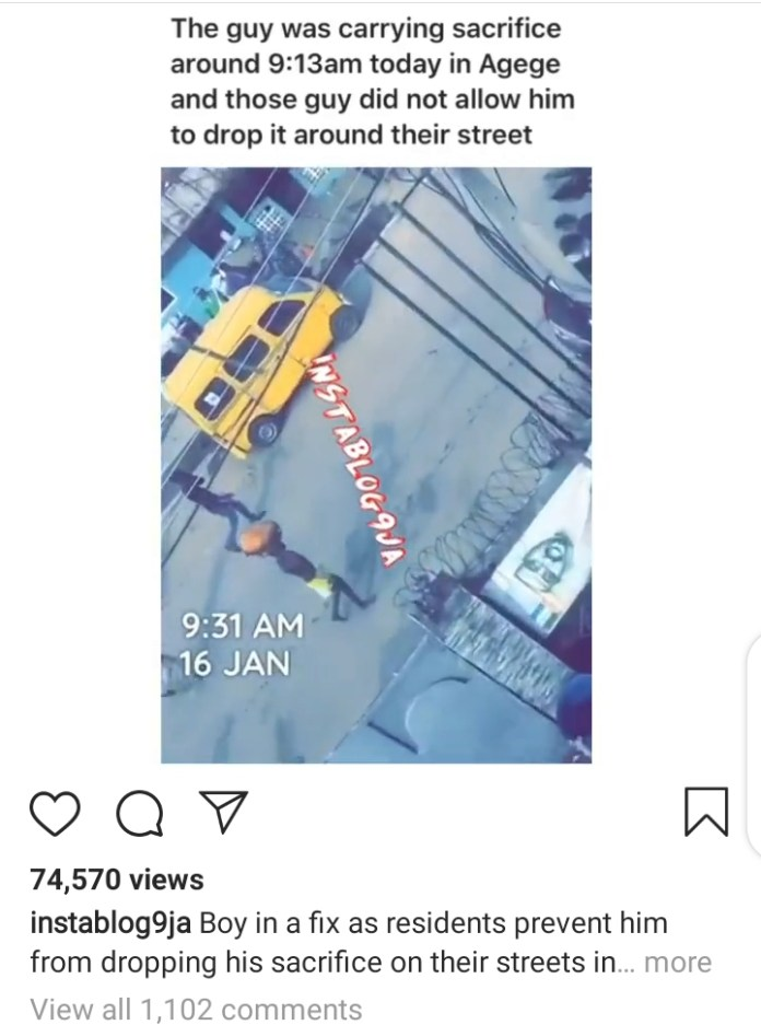 Screenshot of the boy carrying the sacrifice while walking around Agege