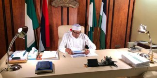 President Buhari at work