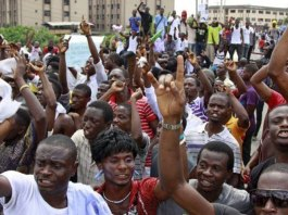 File photo of Nigerian students protest