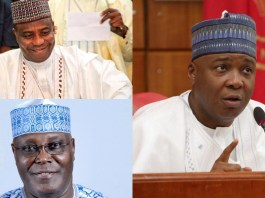 """The All Progressives Congress (APC) has beckoned to former Vice President Atiku Abubakar to return to the party in the spirit of reconciliation. The ruling political grouping also extended the olive branch to ex-Senate President Bukola Saraki and Sokoto State Governor Aminu Tambuwal, as well as others who defected in 2015 till date. APC said the resolve by Senator Barnabas Gemade and the immediate speaker of the House of Representatives, Yakubu Dogara, to return to its fold """"clearly attests to the fact that the ongoing effort by the Governor Mai Mala Buni-led caretaker committee to reconcile aggrieved members and strengthen the party is yielding the desired result."""" """"We assure all true progressives, who left the party over whatever grievance, to return and join ongoing efforts to reposition the APC and further achieve our pro-people plans for the country,"""" the party's deputy national publicity secretary, Yekini Nabena, pleaded."""