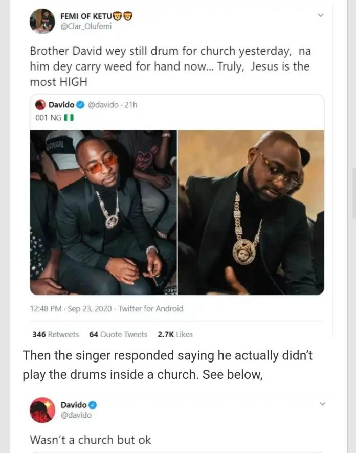 The exchange between Davido and the tweep