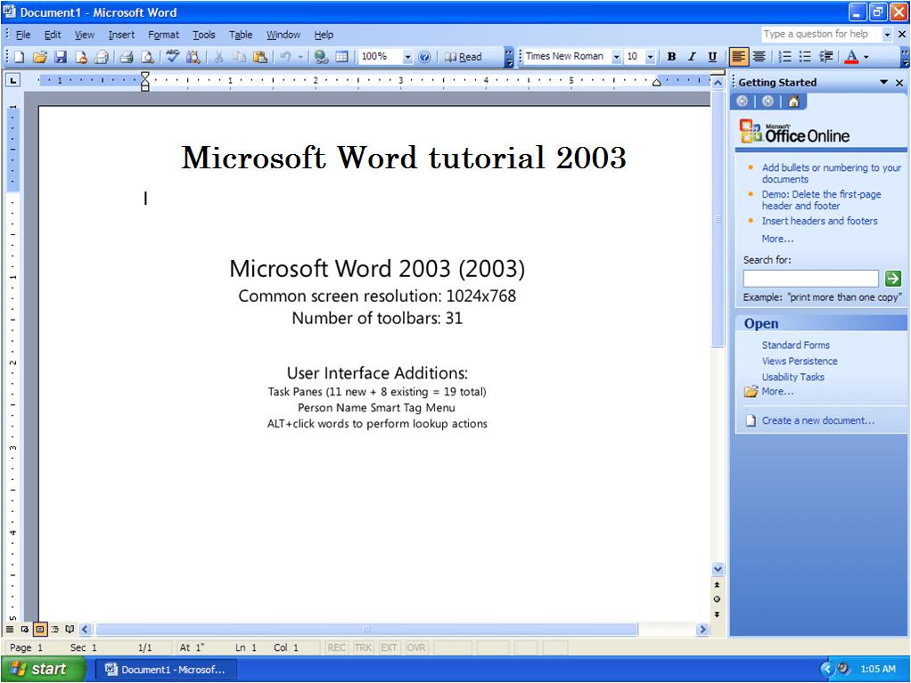 Microsoft Word tutorial 2003