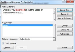 Editing Text in Microsoft Word 2007 Spellings and Grammar