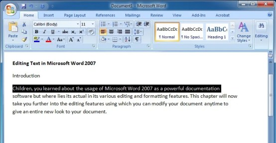 Editing Text in Microsoft Word 2007 To Select a Line