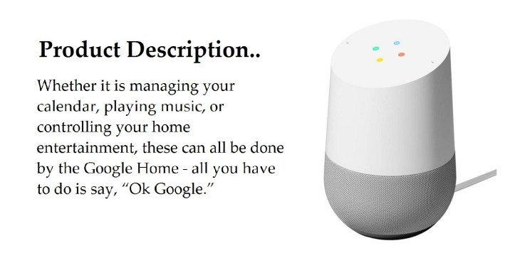 Google Home Specifications