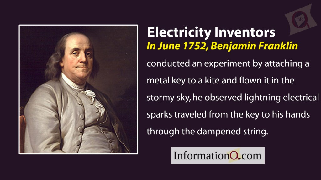 Benjamin Franklin conducted an experiment by attaching a metal key to a kite and flown it in the stormy sky