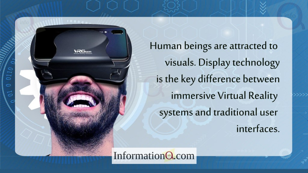 Human beings are attracted to visuals. Display technology is the key difference between immersive Virtual Reality systems and traditional user interfaces.