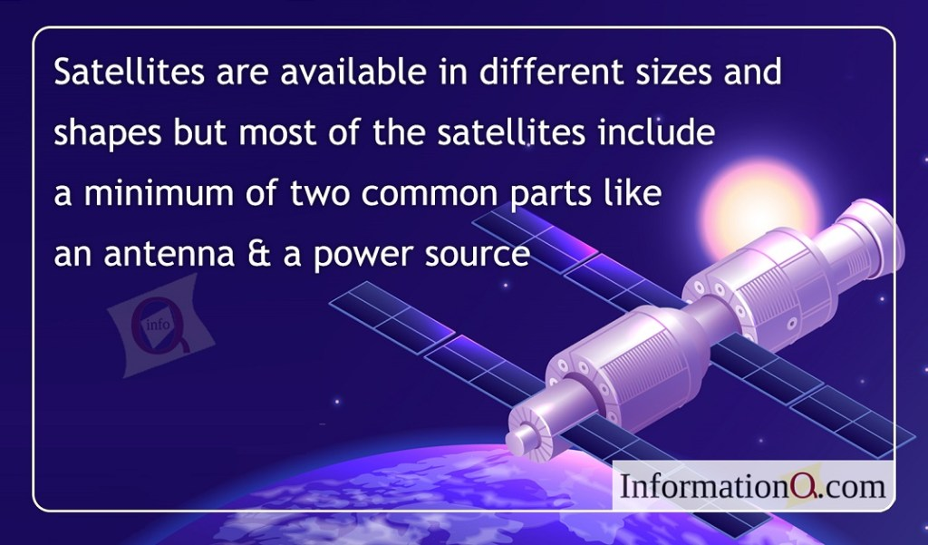 Satellites are available in different sizes and shapes but most of the satellites include a minimum of two common parts like an antenna & a power source