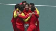 El equipo español de Copa Davis celebra el sexto título para España/Img. Rtve