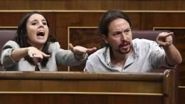 María Irene Montero y Pablo Iglesias Turrión enel Parlamento español