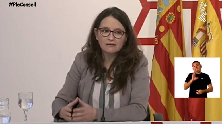Mónica Oltra en rueda de prensa este jueves/informaValencia.com